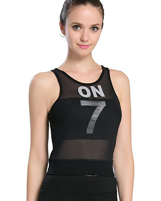 2433096a72a97 Campeak Mesh Workout Fitness Sports Compression Tank Top with Built-in  Shelf Bra for Womens
