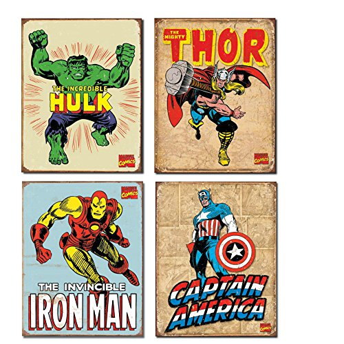 Vintage Superhero Tin Sign Bundle - The Incredible Hulk, Thor, Iron Man and Captain America. ()