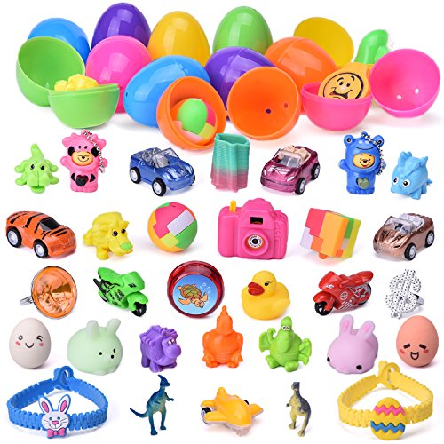 48 Pieces Plastic Eggs Filled with Mini Toys for Kids Party Game Prizes, Goodie Bag Fillers, Pinata Toys, Easter Basket Stuffers by Fun Little Toys