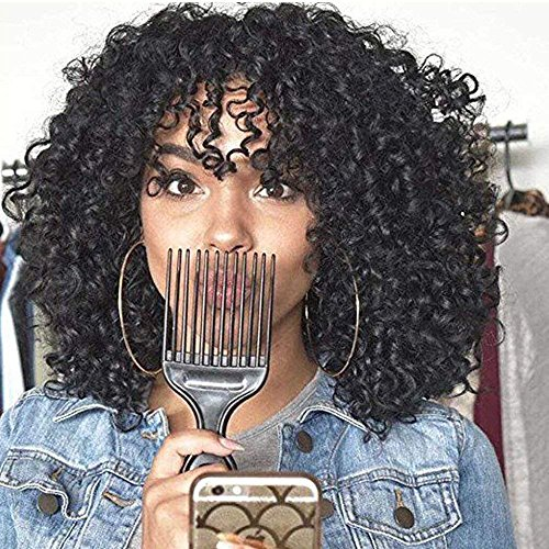 MISSQUEEN Short Kinky Curly Wig 14 Inches Jet Black Synthetic Hair Heat Resistant Fiber Full Wigs with Bangs for Black Women
