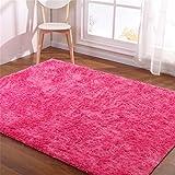 Hoomy Hot Pink Carpet Large Living Room Carpets for Home Modern Customized Floor Rug 6X8