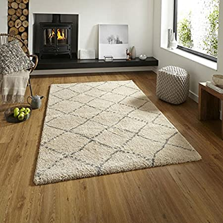 Think Rugs Royal Nomadic 5413 Shaggy Rug, Cream/Grey, 120 x 170 Cm:  Amazon.co.uk: Kitchen & Home