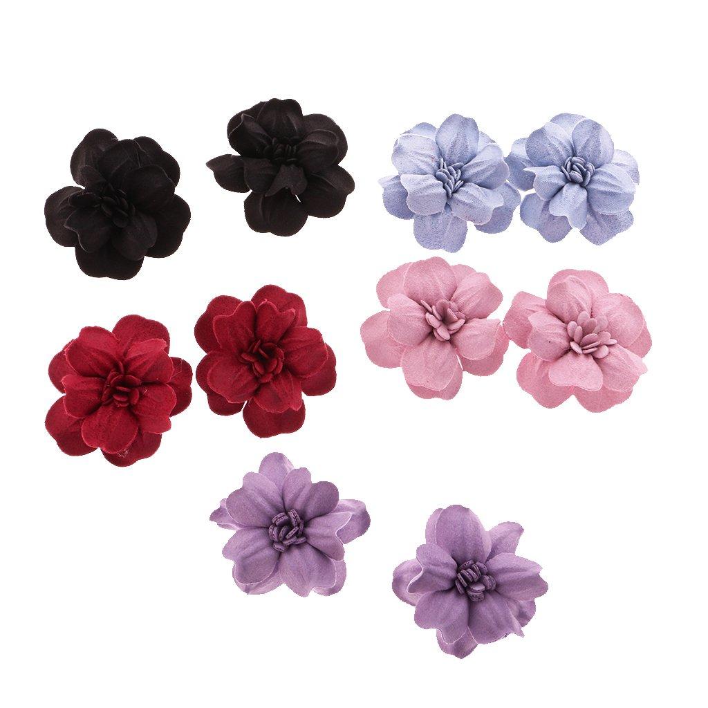 #1 MagiDeal 10 Pcs Couture Fleur De Tissu Appliqu/é Cheveux Robe Embellissement Pour DIY