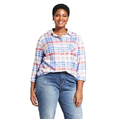 0574f2f55c5 Image Unavailable. Image not available for. Color  Ava   Viv Women s Plus  Size Plaid Long Sleeve Button Down Shirt-1X ...
