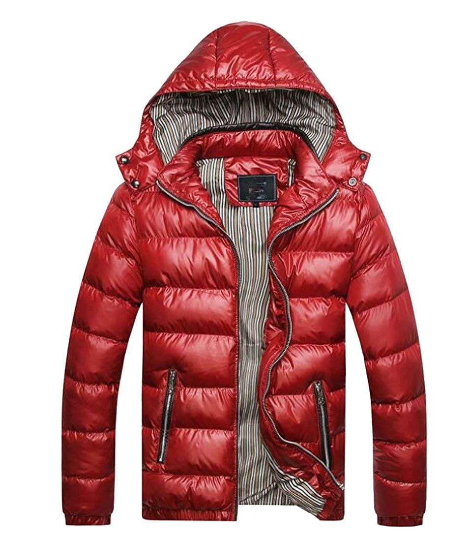 Zantt Mens Stand Collar Hooded Quilted Winter Fashion Zipper Down Jacket Coat