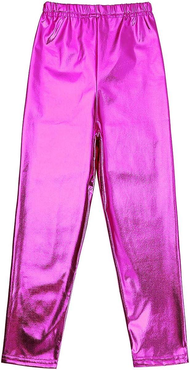 inlzdz Girls Kids Shiny Metallic Stretchy Dance Leggings Tights Pants Gymnastic Trousers Jazz Party Disco Dance wear Costumes