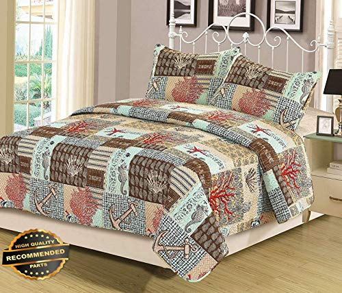 Werrox King or Queen Quilt Set 3 Piece Bedspread Coverlet Blue Nautical Anchor Coral | King Size | Quilt Style QLTR-291266673
