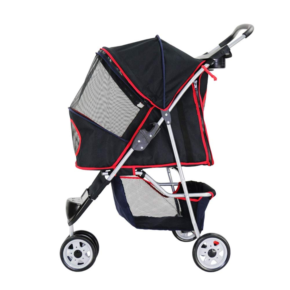 BLACK Dog Strollers, Pet Cat Carrier Dog Trolley Outdoor Travel
