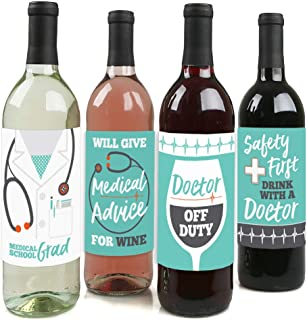 product image for Big Dot of Happiness Medical School Grad - Doctor Graduation Party Decorations for Women and Men - Wine Bottle Label Stickers - Set of 4