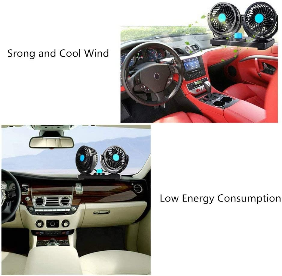Dual Head 12V 360 Degree Rotatable for Auto Truck Vehicle Boat Electric Car Cooling Fan
