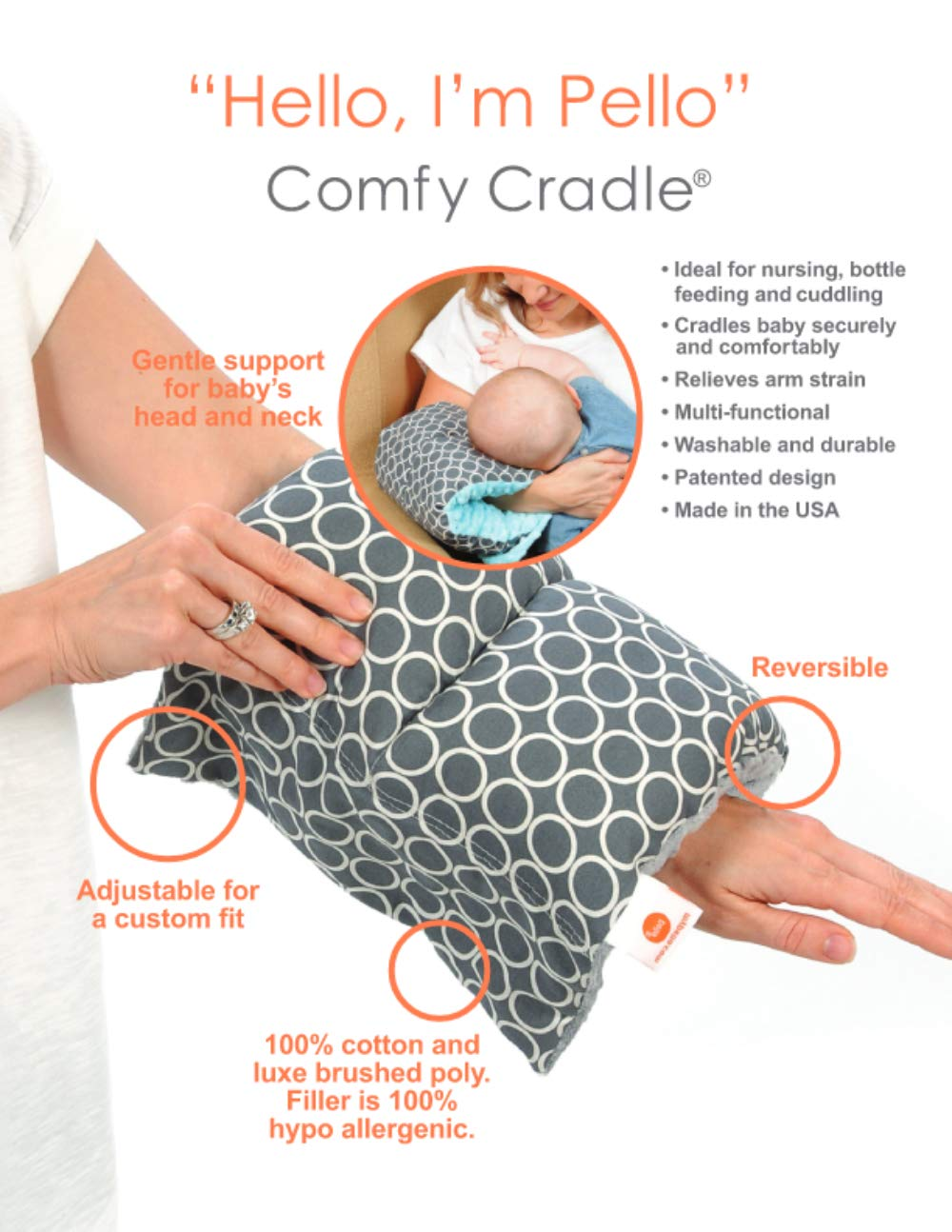 Amazon.com: Pello Comfy Cuna – Slip-On Brazo Almohada para ...