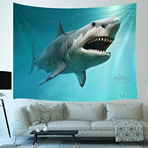 3D Shark Ocean Decor Tapestry, sea Animal Megalodon Underwater World Art Wall Hanging for Bedroom Living Room College Dorm TV Backdrop Wall Blankets 71X60 Inches