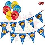Mega Bundle Set of Superhero Birthday Bunting Banner and pack of 15 Superhero Assorted 12' Latex...