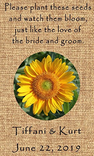 Personalized Wedding Favor Wildflower Seed Packets Burlap Sunflower Design 6 verses to choose Set of ()