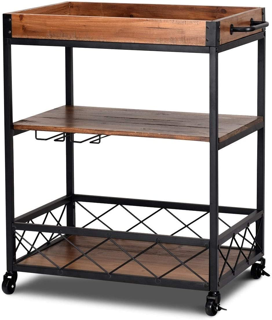 LordBee 3 Tier Serving Dining Storage Shelf Rolling Kitchen Trolley Versatile Cart Removable Sturdy Construction Long Lasting Extra Storage Space Fir Iron Nylon Wheels