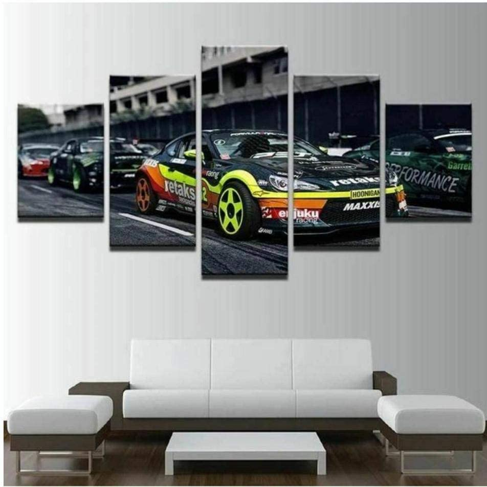 ADKMC Canvas Wall Art 5 Pieces for Living Room Bathroom Bedroom Office Kitchen Modern Home Decor Prints Artwork Circuit Race Cars Poster (60