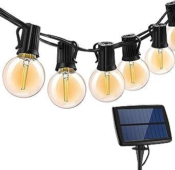 Cadena de Bombillas Solar,SUAVER 25ft Solar Cadena de Luz, Guirnaldas Luminosas de Exterior y Interiores con G40 25 LED Bombillas,Luces de decoración solar para Jardín Fiesta Cafe (Blanco cálido): Amazon.es: Iluminación