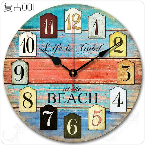 - Y-Hui Home Decor Rose Wall Clock, 12 Inch, Blue 001