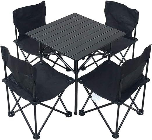 KJRJZY Cinco Piezas Traje de Mesa Plegable al Aire Libre y Juego de sillas, portátil Plegable de luz Mesa de jardín, Camping, Playa, Pesca, Barbacoa, indicado for 4-6 Personas: Amazon.es: Hogar