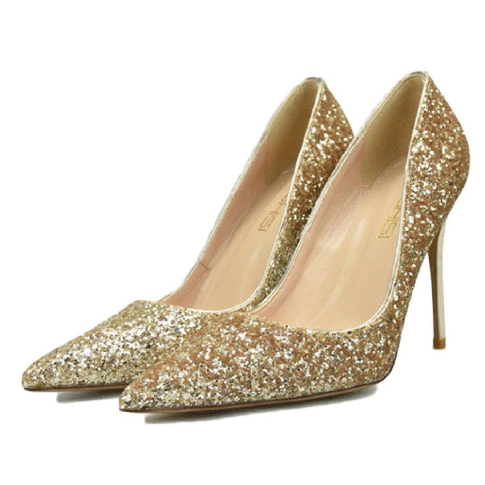 Zapatillas De Tacón Alto para Mujeres Stiletto Cerrado Zapatos De Trabajo Zapatos De Clubbing Gradient Lentejuelas Sexy Zapatos De Fiesta De La Boda 39 EU|Gold