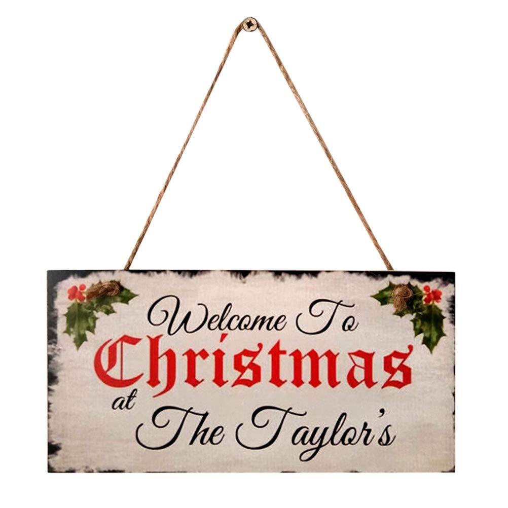 PRETYZOOM Addobbi Natalizi Decorazioni di Natale in Legno con Merry Christmas Targhe Vintage Decorative
