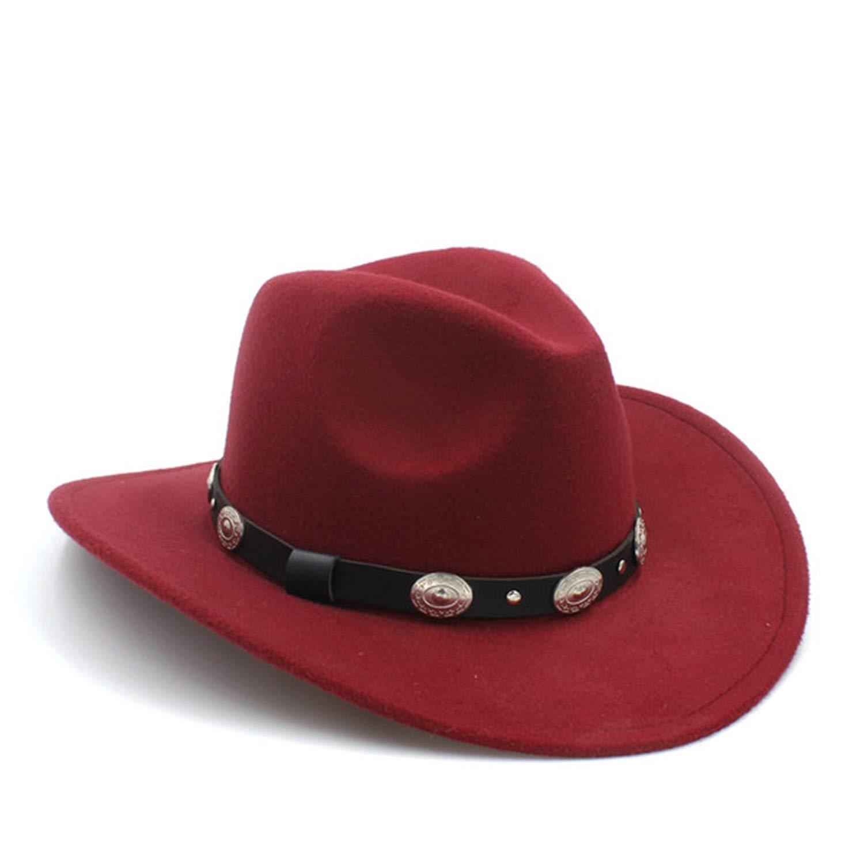 LONIY Womem Men Western Cowboy Hat with Wide Brim Punk Belt Cowgirl Jazz Cap with Leather Gentleman Sombrero Cap