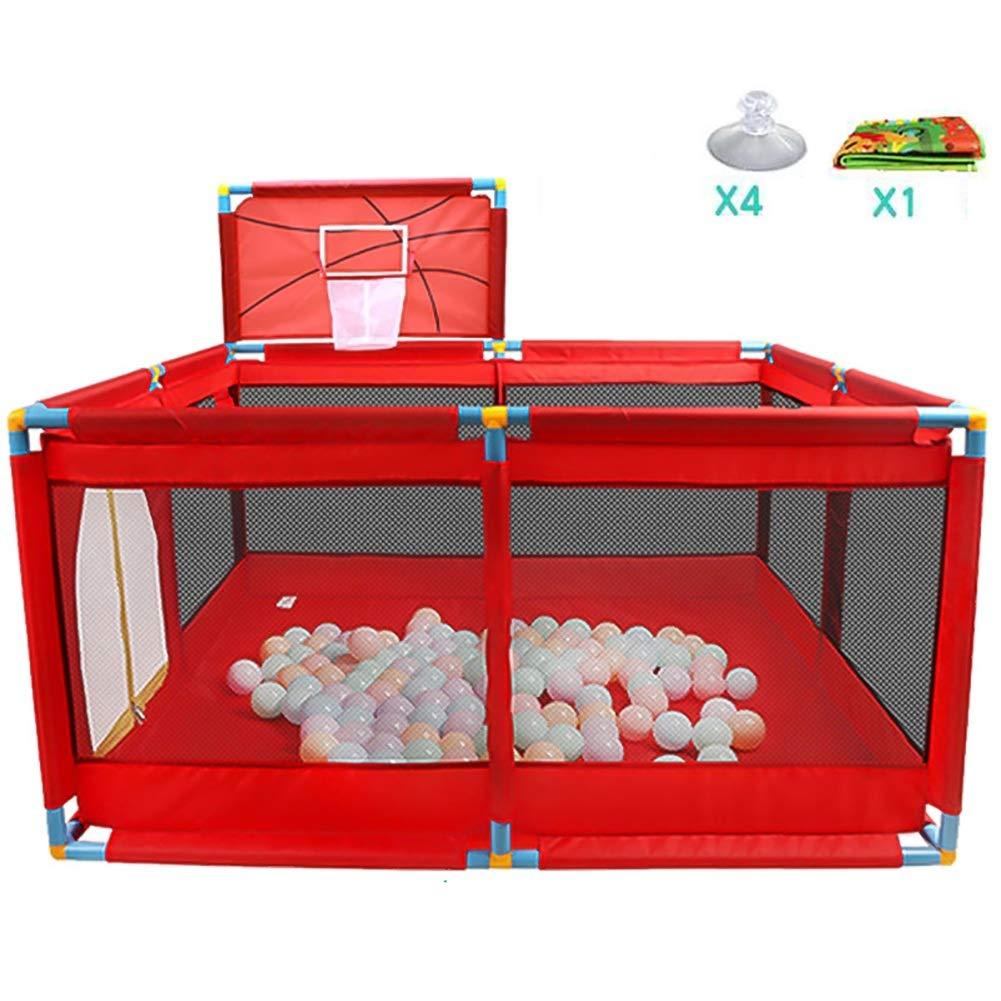 Playpen子供の安全フェンスポータブル折り畳み式プレイグラウンドおもちゃウォッシャブルオーシャンボールプールセットは、赤ちゃん/幼児/新生児/幼児セーフクロール (色 : Red, サイズ さいず : 128X128X66CM+Basketball hoop) 128X128X66CM+Basketball hoop Red B07L2BX1FM