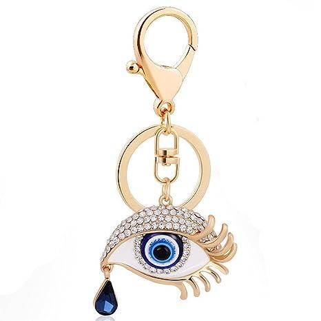 Jzone Classic Evil Eye Keychain Blue Glass Hamsa Good Luck Lucky Charm Protection Gift (Blue Eye Tear Drop)