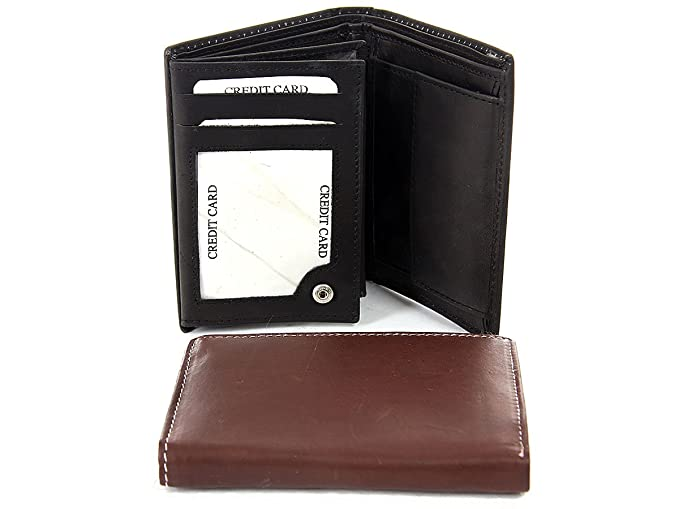 4dfd343354e0 Men's Bifold Double Bill 9 Credit Card 3 Id Vertical Wallet in Black 4x3  inches
