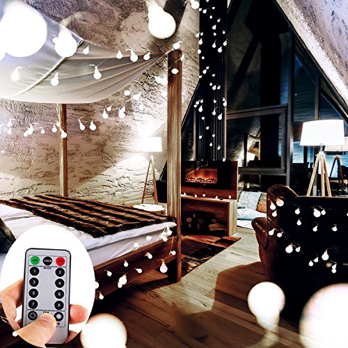 33ft 100 Leds Globe string Lights Battery Operated,WERTIOO fairy Lights with Remote Control Indoor/Outdoor for Bedroom,Christmas,Garden,Wedding,Parties[8 Modes,Timer] (White)