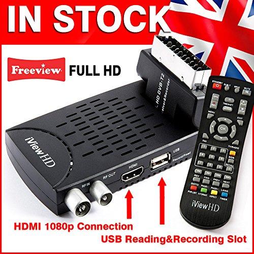 UK Mini Scart FULL HD Freeview Set Top Box Receiver Digi Box Digital TV Tuner Terrestrial USB HD Recorder HDMI or SCART Connections (iView HD Mini)