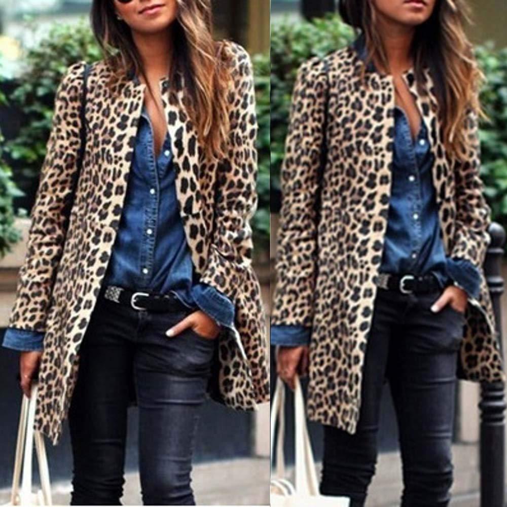 RedBrowm-women Jacket Long Slim Fit Parka Fashion Outwear Leopard Cardigan Coat
