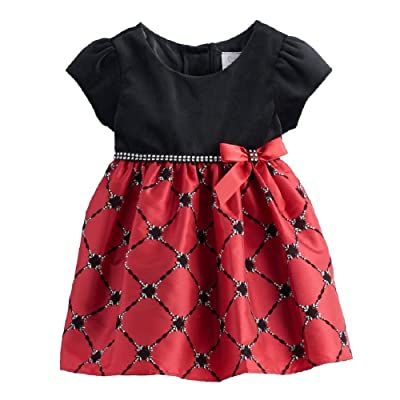 Youngland Baby Girl 24 Months Beaded Dress Black Red Party Special Lined