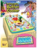 Inflatable Tropical Luau Serving Bar Salad Ice Tray Food Container Buffet Cooler Party Supplies BBQ Picnic Summer Pool Party Outdoor Supplies, Flower Design Multi-Color, 53''x28''
