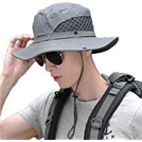 Sinrier Outdoor Boonie Sun Hat for Women and Men, Wide Brim Summer Hat Waterproof for Fishing, Hiking, Camping, Boating and Outdoor Adventures Breathable Nylon & Mesh