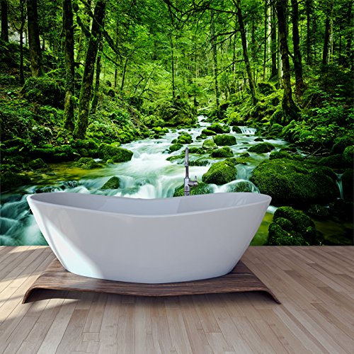 Stream Through Rainforest Rivers, Lake Forest Wall Mural Nature Photo Wallpaper available in 8 Sizes Gigantic Digital ()