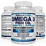 #1 Omega 3 Fish Oil 2250mg | HIGHEST EPA 1200MG + DHA 900MG Triple Strength Burpless Capsules | Essential Fatty Acid Combination Vitamin Nutritional Supplements | 120 Pills | BioScience Nutrition
