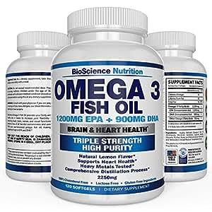 Omega 3 Fish Oil 2250mg | HIGH EPA 1200MG + DHA 900MG Triple Strength Burpless Capsules | 120 Pills | BioScience Nutrition