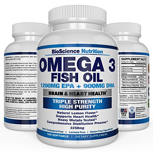 Natural Pet Omega 3 (Omega 3 Fish Oil 2250mg | HIGH EPA 1200MG + DHA 900MG Triple Strength Burpless Capsules | 120 Pills | BioScience Nutrition)