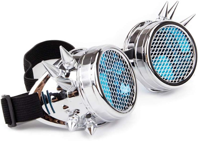 Aqiong KAERMA Hombres Mujeres Azul Claro Lente de Cristal con el Acoplamiento de Plata del Remache Gafas de Steampunk Lentes de Cosplay de época gótica Soldadura Gafas Gafas de Moda