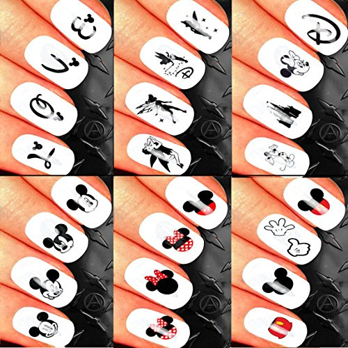 Minnie Mouse Minnie Mouse Classic Nail Art Waterslide Decals Assortment Mega Pack! - Salon Quality Over 120 Nail Decals - Mickey Minnie Mouse Ears Head Disney Castle and More slick nailz