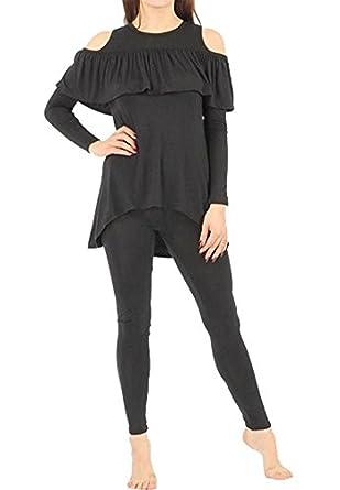 Friendz Trendz Women Ruffle Frill Cut Out Shoulder Lounge Suit