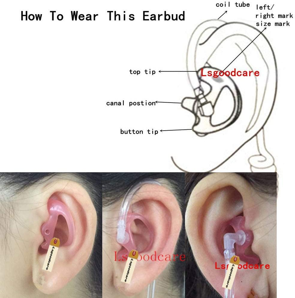 for Two-Way Radio Air Acoustic Coil Tube Audio Kit Walkie Talkie Earpiece Headset Lsgoodcare Silicone Replacement Earplug Earmold Earbuds Left and Right