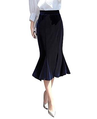 Damen Rock Elastische Taille Einfarbig Ausgestelltes Damen Bleistift Rock  Kurz Hohe Taille Stretch Dunkelblau XXL e052613077
