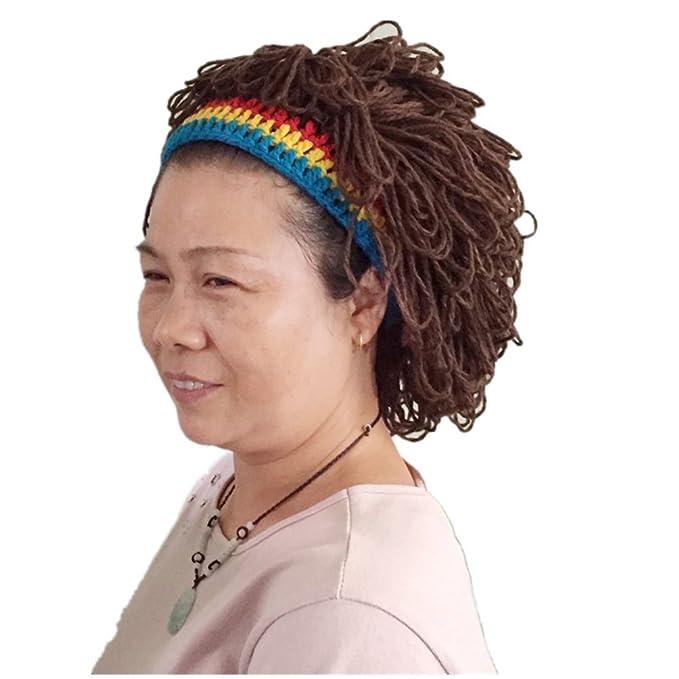 BIBITIME Funny Cool Jamaica Women Beanie Prank Wig Hats Handmade Knitted  Cap (One Size ca58afa16a6