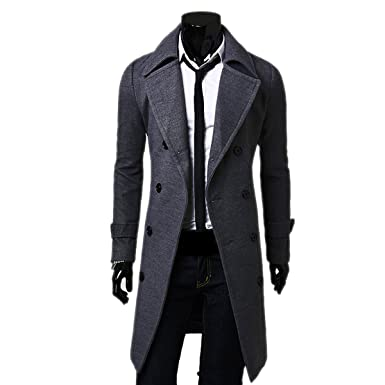 6bf2d5a77122 LANMWORN Men's 6 Colors Upgrade Winter Double-Breasted Long Trench Coat,  Long Sleeve Trenchcoat
