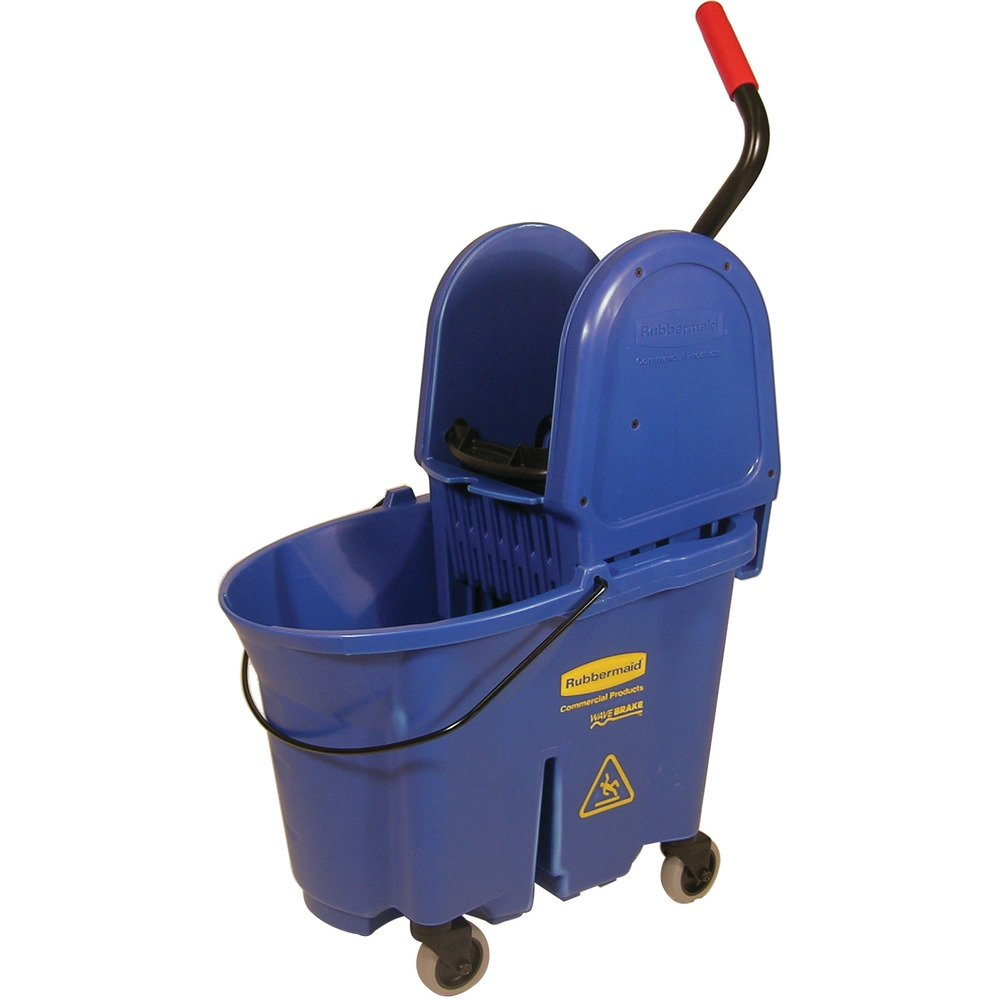 Rubbermaid Commercial WaveBrake 35 QT Down-Press Bucket and Wringer, Blue, (FG757888BLUE)
