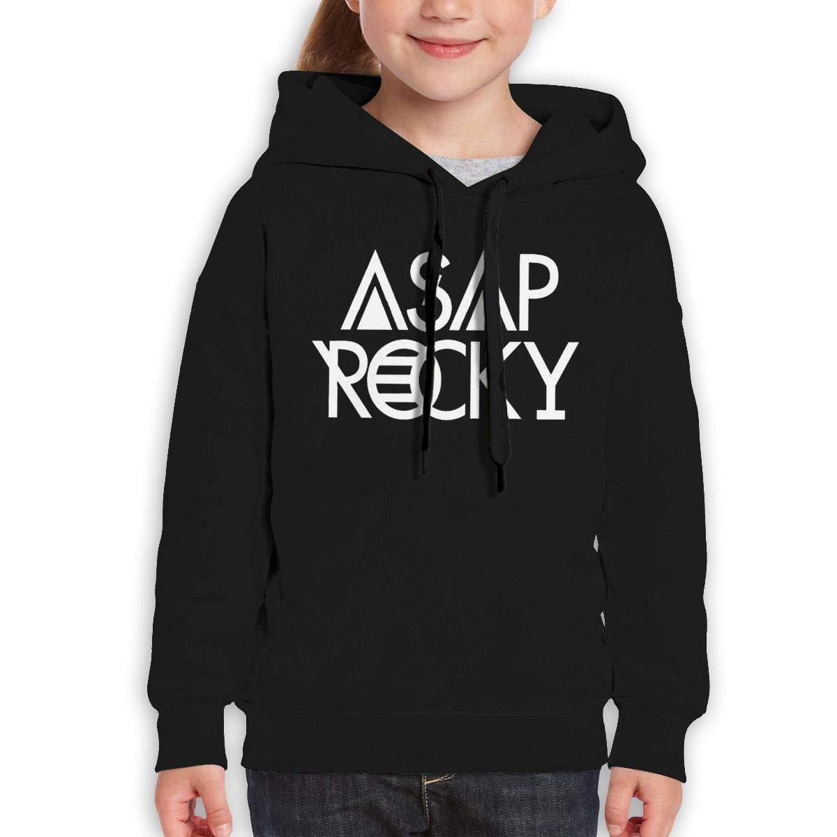Guiping ASAP Rocky Logo Teen Hooded Sweate Sweatshirt Black