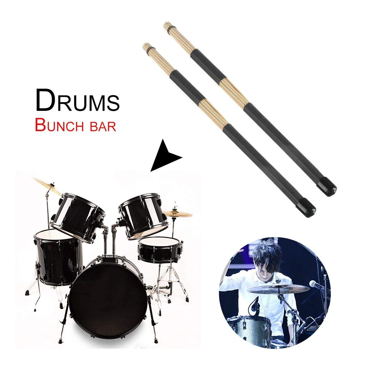 Rojo, WEIWEITOE 1 par de Madera de bamb/ú Profesional Multi-Sticks Jazz Drum Rods Sticks Pinceles Baquetas Drum Accesorios con Mango de Goma