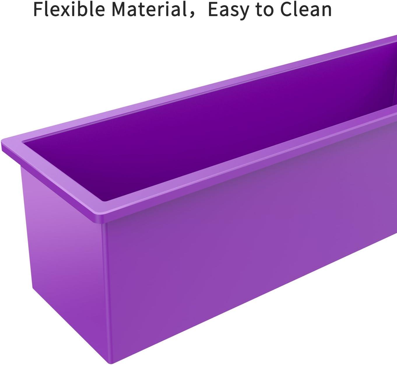 Molde de silicona rectangular flexible con cubiertas de madera para jab/ón casero de 40 onzas POFET
